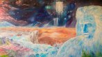 Outpouring – Acrylic on Canvas. (desert with fathers face pouring out river)